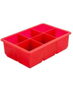 Ice Cube Mould - 2 Inch Cubes - 6 Section - Red Silicone